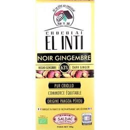 Chocolate peruano negro con jengibre confitado, sin lecitina,  BIO