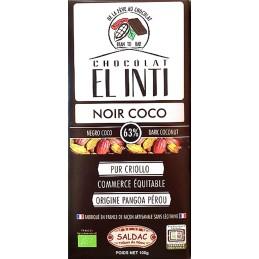 Chocolat noir à la noix de coco, sans lécithine, BIO