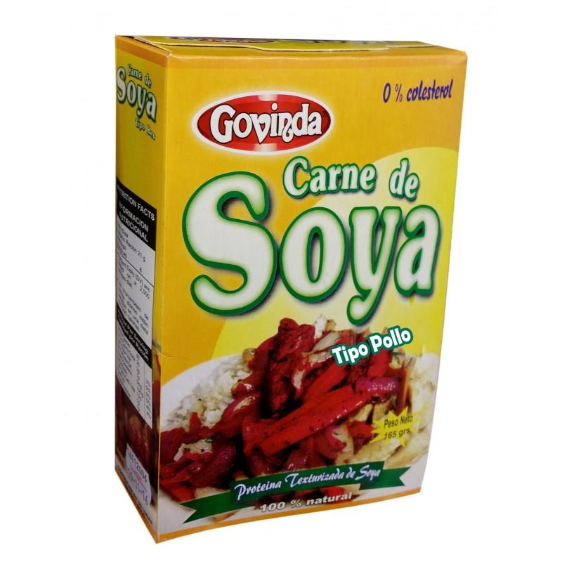 Carne de soya tipo pollo marca Govinda 0% colesterol 165gr